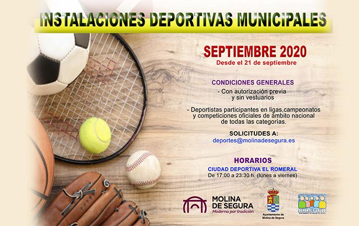 Apertura de instalaciones Deportivas municipales septiembre 2020